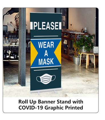 Roll Up Banners with COVID-19 Graphic Print